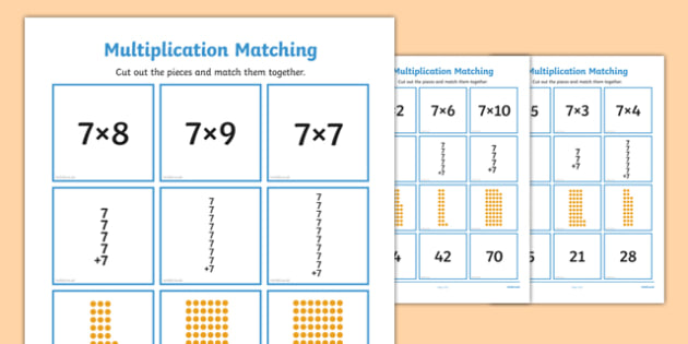 7 Times Table Multiplication Matching Puzzle - times table, multiplication, matching, puzzle, match, maths, numeracy, 7