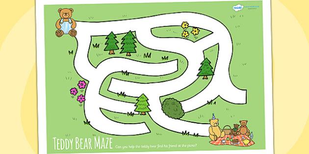 Teddy Bears Picnic Maze Activity Sheet - teddy, bears, game, mazes, animals, worksheet
