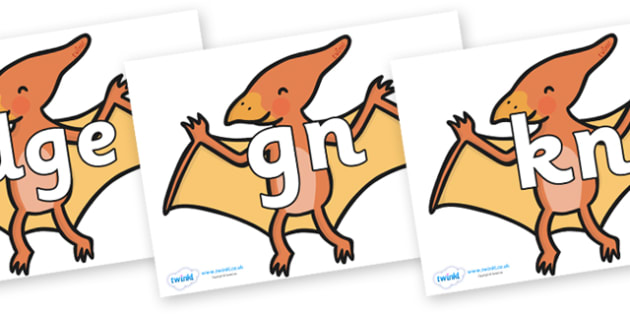 Silent Letters on Pterodactyl-Dinosaurs - Silent Letters, silent letter, letter blend, consonant, consonants, digraph, trigraph, A-Z letters, literacy, alphabet, letters, alternative sounds