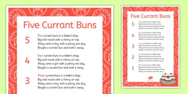 Five Currant Buns Nursery Rhyme Sheet - five currant buns, nursery rhyme, sheet