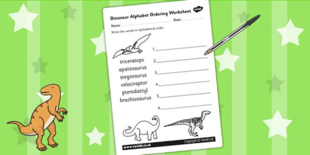 Dinosaur Alphabet Ordering Worksheet - dinosaurs, alphabet, a-z