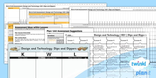 PlanIt - Design and Technology KS1 - Dips and Dippers Unit Assessment Pack - planit, assessment, pack