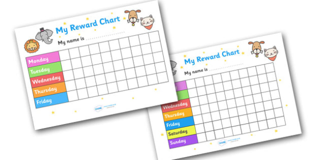 My Reward Chart (Animals) - my reward chart, animals, chart, reward, well done, certificate, award, school, general, animal, animal themed, cat, dog, lion, rabbit