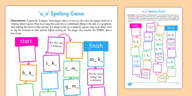 a-e Spelling Board Game - spelling, board, game, a-e, a e, spell