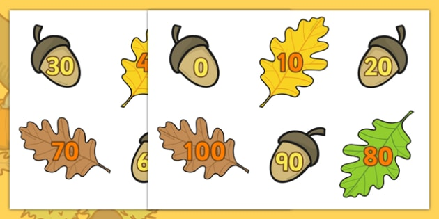 Acorn Number Bonds To 100 Multiples of 10 - autumn, number, maths