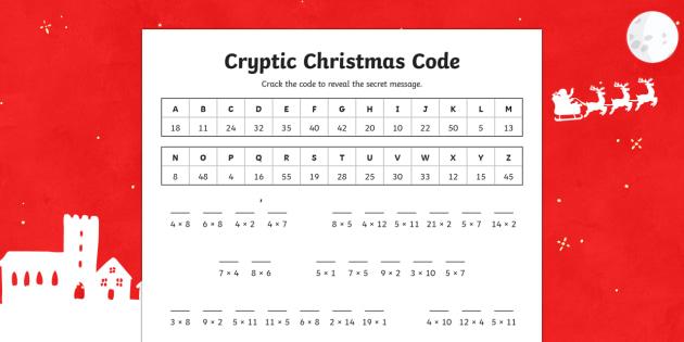 Cryptic Christmas Code Multiplication Activity Sheet