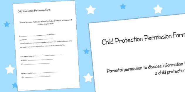 Child Protection Permission Form - child minder, protection, form
