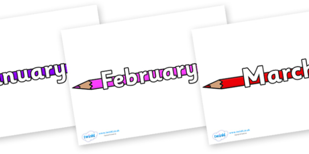 Months of the Year on Pencil Crayon - Months of the Year, Months poster, Months display, display, poster, frieze, Months, month, January, February, March, April, May, June, July, August, September