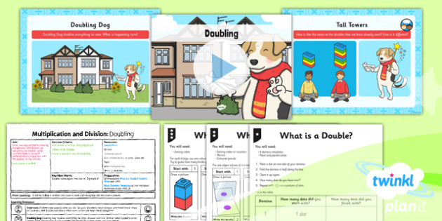 Planit Y1 Multiplication and Division Lesson Pack Doubles and Halves (1) - doubles, halves, doubling, halving, equal sharing, same size groups, multiplying and dividing by two, two times table, 2 x table, planning