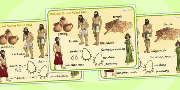 Ancient Sumer Word Mat - sumer, history, word mat, visual aid