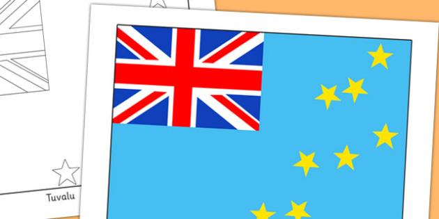 Tuvalu Flag Display Poster - countries, geography, display