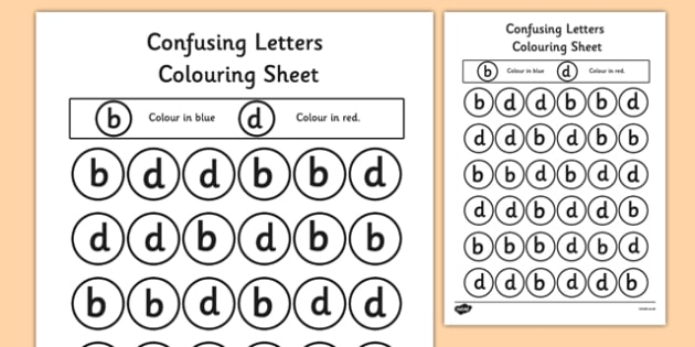 Confusing Letters Colouring Worksheets B and D - letters, vocab