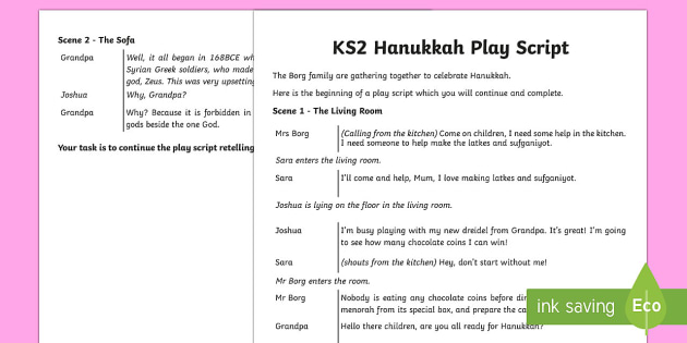 KS2 Hanukkah Play Script Writing Activity Sheet  - Hanukkah, Jew, Judaism, celebration, light, festival, play script, KS2 play script, KS2 Hanukkah, wr