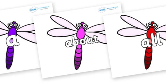 100 High Frequency Words on Dragonflies - High frequency words, hfw, DfES Letters and Sounds, Letters and Sounds, display words