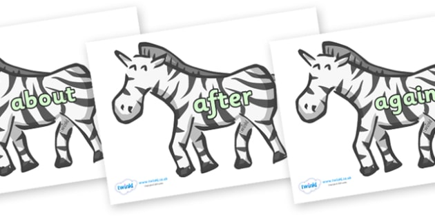 KS1 Keywords on Zebras - KS1, CLL, Communication language and literacy, Display, Key words, high frequency words, foundation stage literacy, DfES Letters and Sounds, Letters and Sounds, spelling