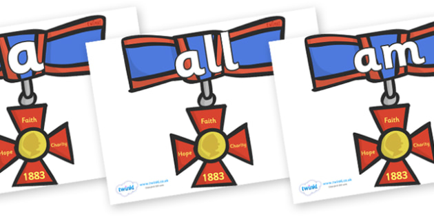 Foundation Stage 2 Keywords on Medals - FS2, CLL, keywords, Communication language and literacy,  Display, Key words, high frequency words, foundation stage literacy, DfES Letters and Sounds, Letters and Sounds, spelling