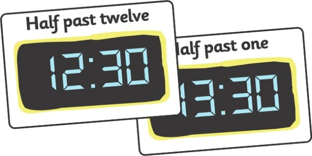 Digital Clocks - Half Past (24 Hour) - Time resource, digital clock, Time vocaulary, clock face, O clock, half past, quarter past, quarter to, shapes spaces measures