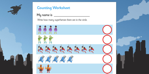 My Counting Worksheet (Superheroes) - Counting worksheet, superhero ...