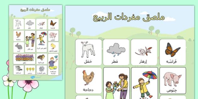 ملصات عرض مفردات الربيع - بوسترات الربيع، وسائل تعليمية