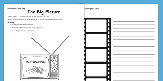 The Big Picture Activity Sheet - challenge, research, home, education, learning, art, tv advert, worksheet