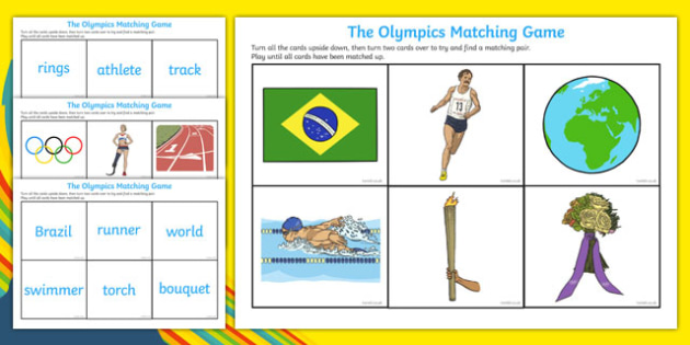 The Olympics Matching Game - Olympics, Olympic Games, sports, Olympic, London, 2012, matching game, match, images, words, activity, Olympic torch, flag, countries, medal, Olympic Rings, mascots, flame, compete, tennis, athlete, swimming, race,