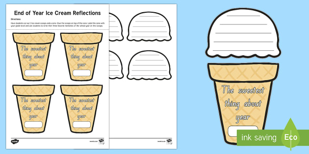 The Sweetest Thing: End of Year Ice Cream Reflections Activity Sheet