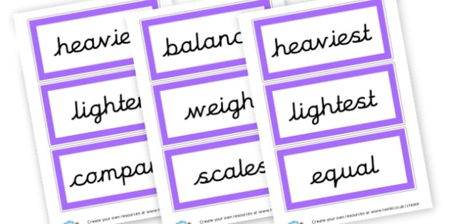 Weight vocabulary - Measuring, Size & Weight Primary Resources, shapes, shape, space