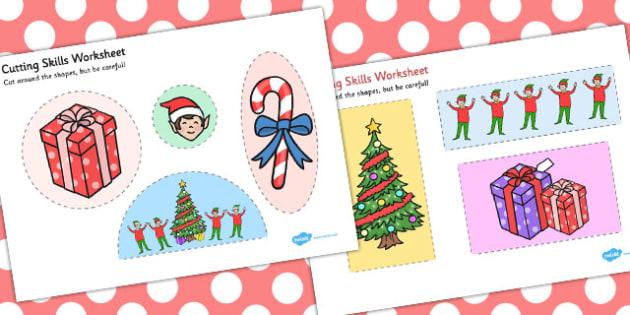 Elf Themed Cutting Skills Worksheet - elf, cutting, skills, sheet