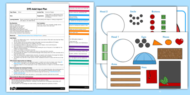 Snowman Shapes EYFS Adult Input Plan and Resource Pack - EYFS, planning, early years, winter, weather, M, Maths, 2D shapes.