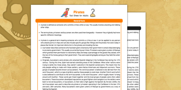 Pirates Fact Sheet For Adults - Early Years, KS1, sea, ships, captain, Blackbeard.