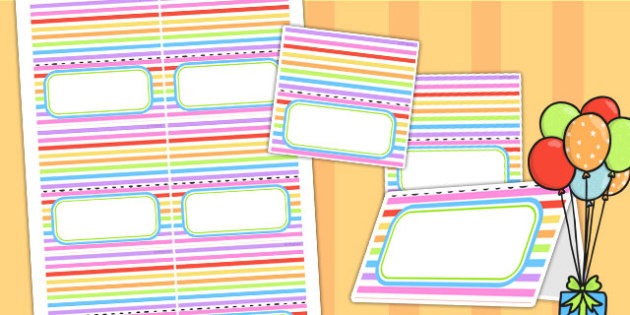 Rainbow Themed Birthday Party Place Names - parties, birthdays