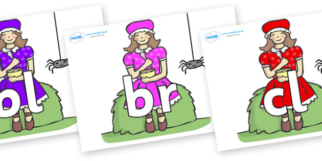 Initial Letter Blends on Little Miss Muffet - Initial Letters, initial letter, letter blend, letter blends, consonant, consonants, digraph, trigraph, literacy, alphabet, letters, foundation stage literacy
