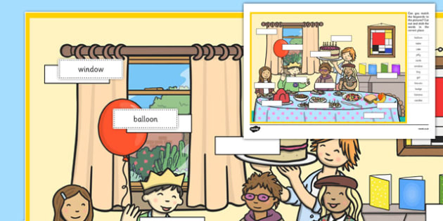 Birthday Party Keyword Matching Activity - matching, language development, keywords, expressive skills, first words