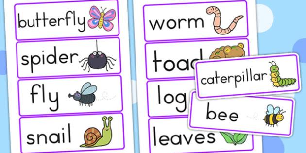 Minibeasts Cute Word Cards - keywords, flash cards, visual aid