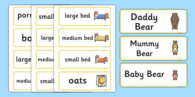 Goldilocks and the Three Bears Word Cards - Goldilocks and the Three Bears, traditional tales,word cards, tale, three bears, porridge, cottage, beds, flashcards