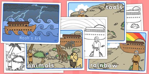 Noah's Ark Visual Aids - Noah's Ark, visual aid, aid, noah, bible story, tools, ark, animals, rain, rainbow, flood, dove, land