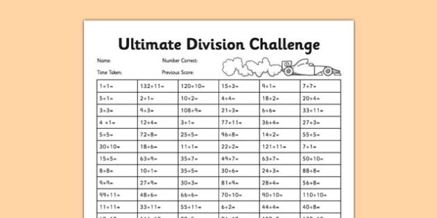 Ultimate Division Challenge - tables test, timed test, golden 100, tables challenge