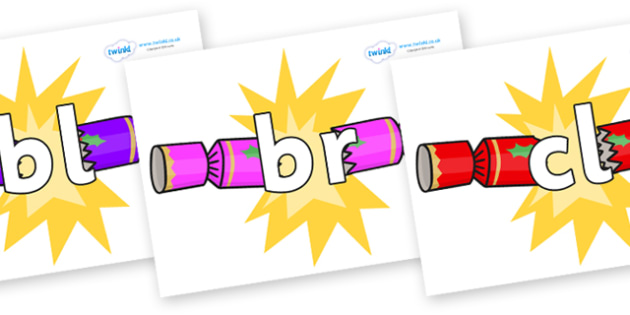 Initial Letter Blends on Christmas Crackers (Cracking) - Initial Letters, initial letter, letter blend, letter blends, consonant, consonants, digraph, trigraph, literacy, alphabet, letters, foundation stage literacy