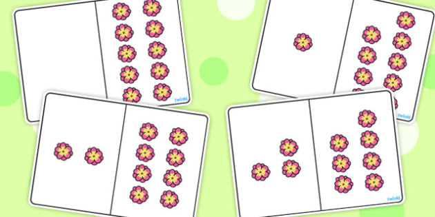 Pink Flower Counting Number Bonds to 10 - numbers, count, maths