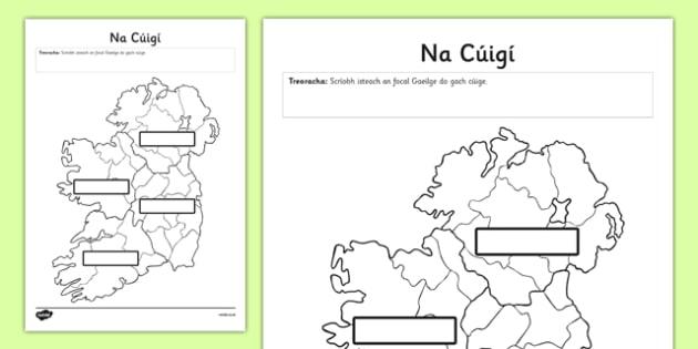 Irish Provinces of Ireland Activity Sheet - Ireland, Reuplic, Gaeilge, provinces, geography, ROI, Irish, worksheet