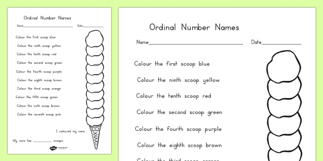 Ordinal Number Ice Cream Colouring Worksheet - food, order, sort