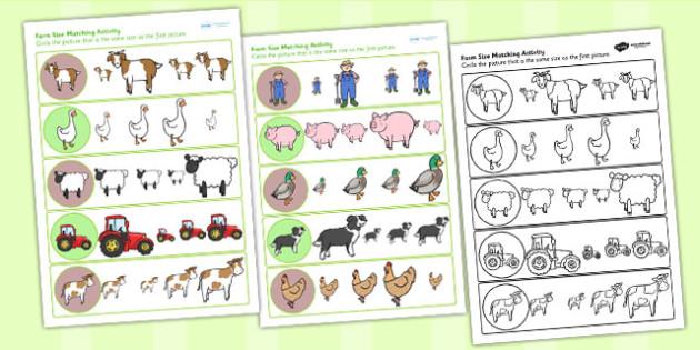 Farm Size Matching Worksheet - farm, size, match, sorting, sizes