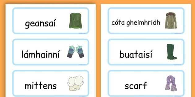 Winter Clothes Word Cards - winter clothes, word cards, winter, clothes - Gaeilge, Geimhreadh