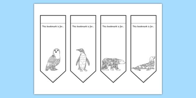 Polar Animals Mindfulness Colouring Bookmarks - mindfulness, colouring, bookmarks, colour, arctic
