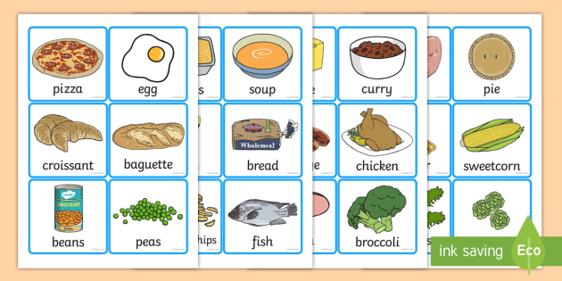 Food Word and Picture Cards - food, cards, cards showing food, different foods, names of food, food images, food activites, food games, cards displaying food, food names