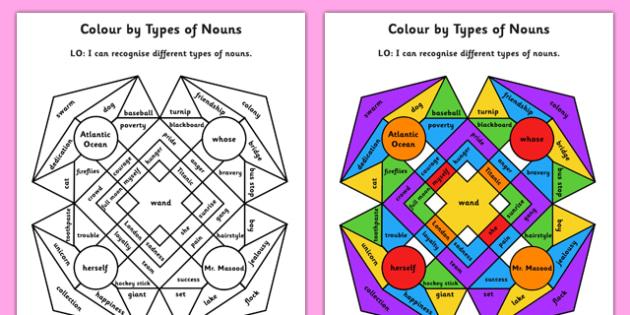 Colour by Types of Nouns - colour, types of nouns, nouns, types, english