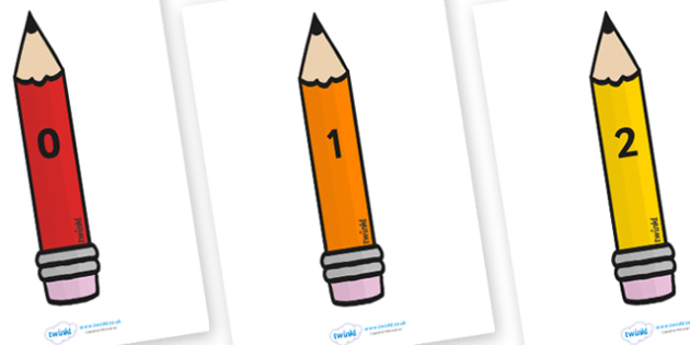 Numbers 0-20 on Pencils - Pencils, pencils, colour, Foundation Numeracy, Number recognition, Number flashcards, 0-20