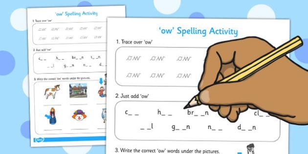 ow Spelling Activity - ow, spelling activity, spell, activity