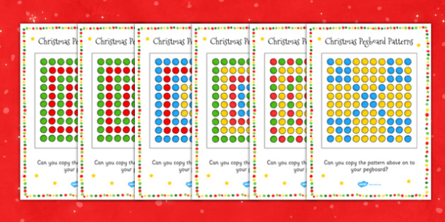 Christmas Peg Board Pattern Cards - Puzzle, Activity, Activities