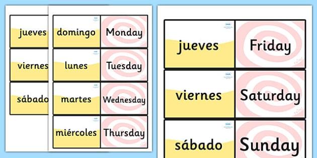 Spanish Days of the Week Loop Cards - Spain, visual, loop card